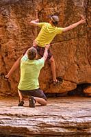 Dylan Wu practising his climbing skills in Matkatamiba Canyon, Grand Canyon National Park, Arizona, USA.