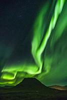 Aurora borealis, Kirkjafell, Iceland.