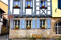 Traditional half-timbered architecture in Forchheim's historic center, Street scene, Kapellenstrasse - Chapel Street, Forchheim, Franconian Switzerlan...