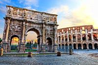 The Coliseum and the Arch of Constantine in Rome. Italy.