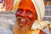 portrait of older yogi in Rishikesh, India.