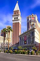 The Venetian St Mark's Campanile (bell tower) in Las Vegas, Nevada.