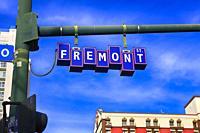 Freemont Street overhead street sign in downtown old Las Vegas, Nevada.