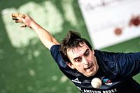 Beñat Azketa at the semi-finals of Antton Pebet basque pelota bare hand tournament. Villabona, Basque Country, Spain.