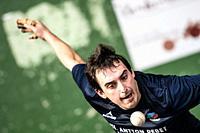 Beñat Azketa at the semi-finals of Antton Pebet basque pelota bare hand tournament. Villabona, Basque Country, Spain.