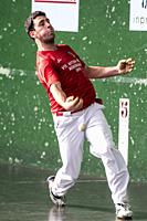 Julen Urruzola at the semi-finals of Antton Pebet basque pelota bare hand tournament. Villabona, Basque Country, Spain.