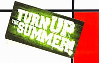 """sticker on a mondrian like background and a text that reads: """""""" turn up the summer"""""""", stuttgart, baden-wuerttemberg, germany."""