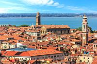 The San Apostoli bell tower and the Madonna dell'Orto tower in Venice, Italy.