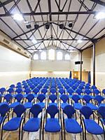 Auditorium Hall. Calisay Cultural Center. Arenys de Mar city. Barcelona province, Catalonia, Spain.