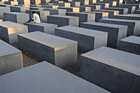 08. 09. 2014, Berlin, Germany, Europe - The Memorial to the Murdered Jews of Eâ. ‹urope, also known as the Holocaust Memorial, situated in the histori...