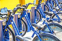 Bike Share bicycles in Melbourne city centre,Victoria,Australia.
