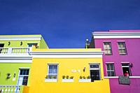 Colourful buildings houses in Bo-Kaap, Malay Quarter, Cape Town, Western Cape, South Africa.