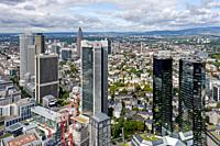 Frankfurt am Main, Hessen, Germany, Europe, The city seen from the platforms of the Main tower, in the foreground the towers of the Deutsche Bank, des...