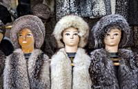Fur hats for sale, Khiva, Uzbekistan.