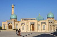 At left Hazroti Imom Friday Mosque and at right Moyie Mubarek Library Museum, Tashkent, Uzbekistan.