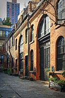 New York City, Manhattan. Looking at Sniffen Court, a Private Courtyard Street in the Murray Hill Section of Manhattan.