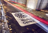 Madrid Central sign indicates the entrance to the new low-emissions zone with restrictions on traffic in the heart of the capital to improve air quali...