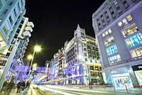 Gran Via street after the reform introduced by MadridÕs City Hall to reduce vehicle pollution, known as Madrid Central. Madrid. Spain.