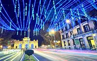Christmas lights at Puerta de Alcal‡ square. Madrid. Spain.