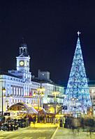 Christmas tree at Puerta del sol square. Madrid. Spain.