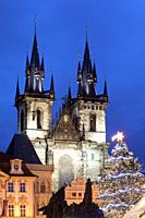 Czech Republic, Prague - The Old Town Square and Tyn Church.
