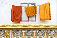 Cambodia, Battambang, Wat Kandal, Buddhist monk robes.