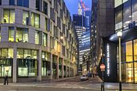 UK, London,City of London-Mincing lane at night in the Financial district.