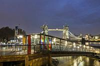 England,London- Tower Millenium pier terminal and boarding point for Thames River Services at night.