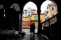 Fish market site. Venice, Veneto, Italy, Europe.