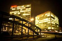 Spiegel publishing company, Hamburg, at Night.