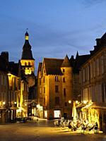 Place de la Liberte at night, Sarlat-la-Caneda, Dordogne Department, Nouvelle-Aquitaine, France.