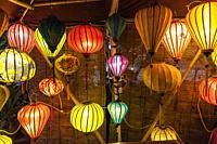 Laos, Luang Prabang, lanterns along Mekong Riverfront.