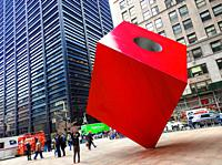 New York. US. The Red Cube at Broadway 140
