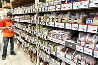 Florida, Miami, The Home Depot, inside, hardware big box store, do it yourself, outlet switch nylon plates sale display shelves, man, employee stock c...