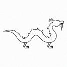 Chinese dragon icon black color vector illustration flat style outline