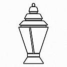 Ramadan kareem lantern or fanous icon black color vector illustration flat style outline