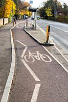 Cycle path along Huntingdon Rd, Cambridge, UK.