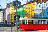 Trams on Wiedner Gürtel near Hauptbahnhof, Vienna, Austria.