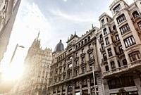 Street view, facade building in Gran Via, Madrid.