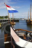 Detail of boat moored in the marina of Enkhuizen, in northern Holland, a typical fishing village.