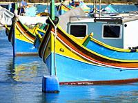 Luzzu traditional Maltese fishing boat - Marsaxlokk, Malta.
