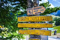 Information signals in Vogel ski area. Triglav National Park. Upper Carniola region. Slovenia, Europe.