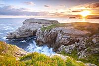 Dawn at Roca Blanca - White Rock - in Suances, Cantabria, Spain.