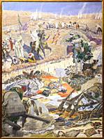 Rif War scene. Defeat of Spanish troops at Igueriben site July 1921, painted by Antonio Munoz Legrain in 1924 at Malaga Museum, Spain