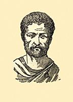Vintage depiction Traianus Roman Emperor. Draw from book Enciclopedia Autodidactica published by Dalmau Carles in 1954