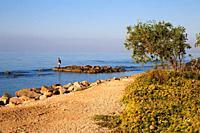 rocks by the sea of Santa Severa, fisherman on the rocks, near Rome, Italy.