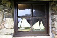 A window in Skye Museum of Island Life, Isle of Skye, Inner Hebrides, Scotland, United Kingdom.
