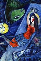 The Blue Circus,1950,a painting by Marc Chagall in the Chagall Museum in Nice,South France.
