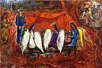 Abraham and three Angels,1966,a painting by Marc Chagall in the Chagall Museum in Nice,South France.