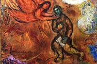 Prophet Isaiah,1968,a painting by Marc Chagall in the Chagall Museum in Nice,South France.